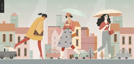 Rain -walking people -modern flat vector concept illustration of people with umbrella, walking or standing in the rain in the street, city houses and cars. Ilustração