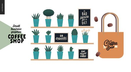 Coffee shop - small business illustrations - decoration -modern flat vector concept illustration of shop interior decoration - pnats and quotes on blackboards, and branded tote bag - constructor set