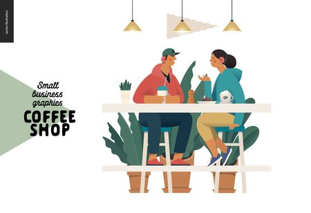 Coffee shop -small business illustrations -visitors -modern flat vector concept illustration of a young couple, cafe visitors, sitting at the high table with coffee, lamps above surrounded by plants