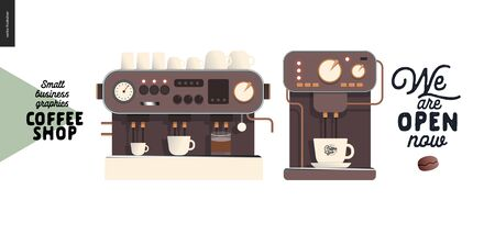 Coffee shop - small business illustrations - coffee machines - modern flat vector concept illustration of two coffee makers with cups and sign We are open mow - constructor set Иллюстрация
