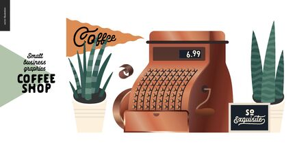 Coffee shop - small business illustrations - vintage cash register - modern flat vector concept illustration of a vintage cash register, flag and plants in the pots - constructor set