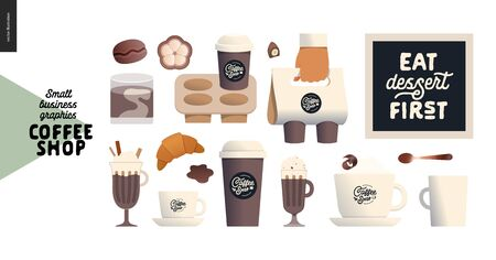 Coffee shop -small business illustrations -coffee - modern flat vector concept illustration of various coffee cups and mugs -paper, ceramic, glass, coffee beans -cappuccino, espresso - constructor set