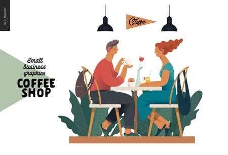 Coffee shop -small business illustrations -visitors -modern flat vector concept illustration of a young couple, cafe visitors, sitting at the table with coffee, lamps above surrounded by plants Иллюстрация