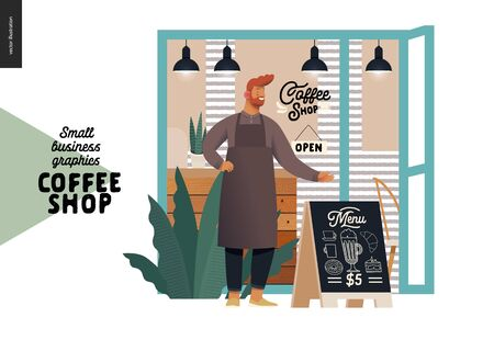 Coffee shop -small business illustrations -cafe owner -modern flat vector concept illustration of a coffee shop owner wearing apron in front of the shop facade. pavement sign - blackboard with menu