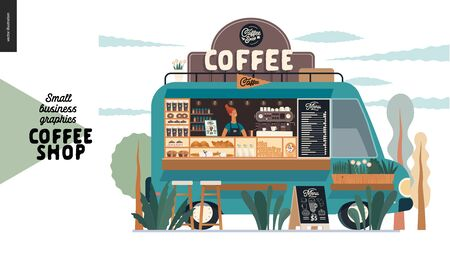 Coffee shop -small business illustrations -food truck -modern flat vector concept illustration of a coffee street food truck van, barista, coofee maker and pavement sign - blackboard with menu Иллюстрация