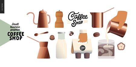 Coffee shop -small business illustrations -coffee pots -modern flat vector concept illustration of various coffee pots, milk bottle, take away pack, cooffee shop logo, beans, cinnamon -constructor set