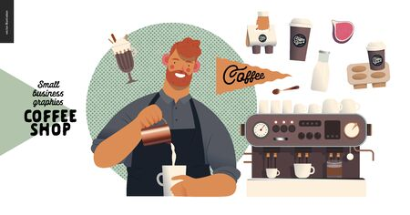 Coffee shop - small business illustrations - barista - modern flat vector concept illustration of a young man wearing apron pouring whipped milk into the coffee mug, coffee maker, elements