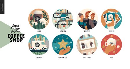 Coffee shop -small business illustrations -web icons -modern flat vector concept illustration of website template elements -icons menu, location, about us, gallery, catering, concept, gift cards, blog
