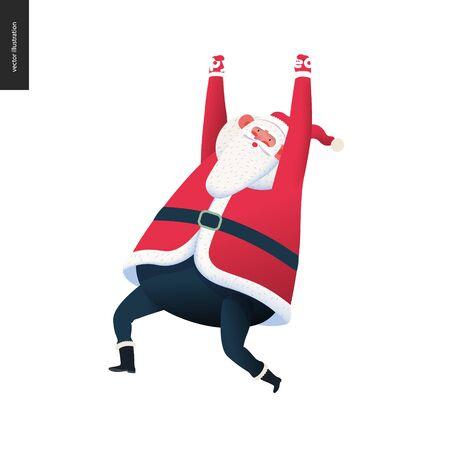 Sporting Santa hanging - modern flat vector concept illustration of cheerful Santa Claus wearing red, hanging, winter, Christmas, New Year Illusztráció