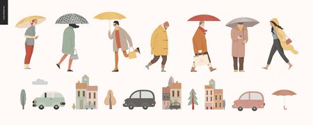 Rain - walking people set -modern flat vector concept illustration of people with umbrella, walking or standing in the rain in the street, city houses and cars.
