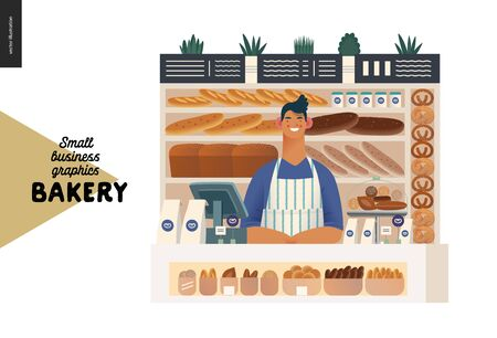 Bakery -small business illustrations -bakery vendor -modern flat vector concept illustration of a shop assistant wearing apron at the counter with display case and shelves full of bread behind Иллюстрация