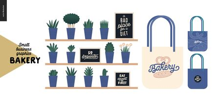 Bakery - small business illustrations - decoration -modern flat vector concept illustration of shop interior decoration - plants and quotes on blackboards, and branded tote bag - constructor set