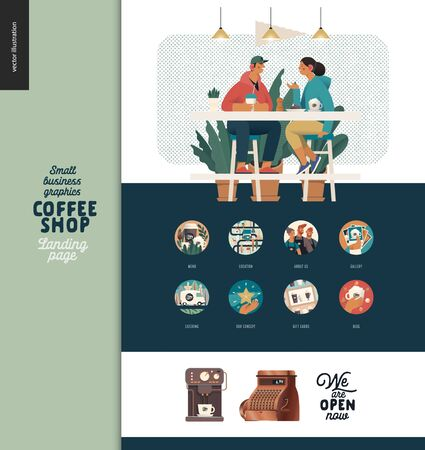 Coffee shop -small business illustrations -landing page design template -modern flat vector concept illustration of coffee shop web page design -cafe visitors at table, coffee machine, cash register