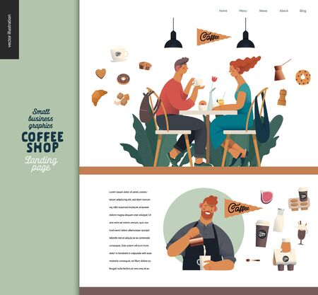 Coffee shop -small business illustrations -landing page design template -modern flat vector concept illustration of a coffee shop web page design -cafe visitors, barista wearing apron, coffee elements Иллюстрация