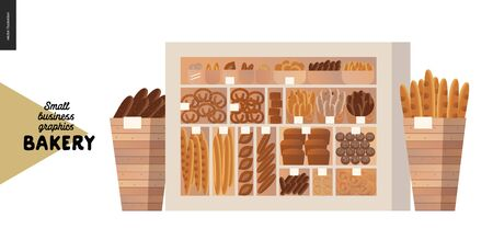 Bakery -small business illustrations -display case -modern flat vector concept illustration of a showcase and two wooden boxes full of bread- weat, rye loaf, grain, pretzel, bun, roll, french baguette