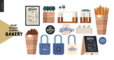 Bakery -small business illustrations -decoration elements - modern flat vector concept illustration of various interior shop elements, bread baskets, branded bags, stand, menu, logo - constructor set