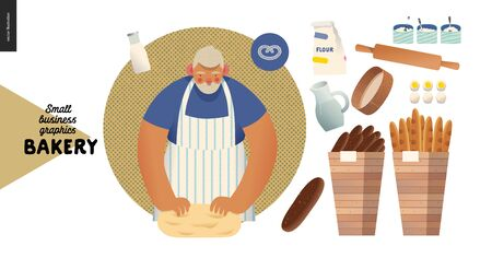 Bakery -small business illustrations -baker and bread - modern flat vector concept illustration of a baker kneading the dough. Weat, rye bread, loaf, grain, pretzel, bun, roll, french baguette