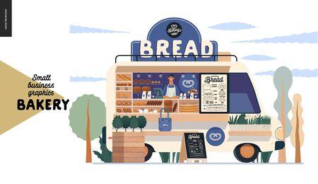 Bakery -small business illustrations -food truck -modern flat vector concept illustration of a bread street food truck van in the park, vendor inside, range of bread, blackboard, plant pot, tote bag
