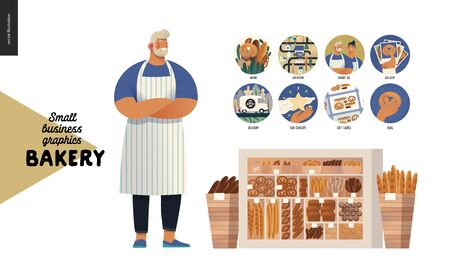 Bakery -small business illustrations -bakery owner -modern flat vector concept illustration of a baker wearing apron, website template elements - icons, showcase and two wooden boxes full of bread