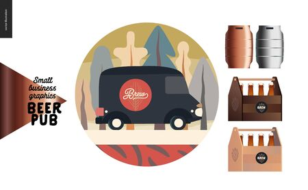 Brewery, craft beer pub - small business graphics - delivery van and some beer - modern flat vector concept illustrations. Delivery or catering car in the park, draft beer casks, wooden beer packs Иллюстрация