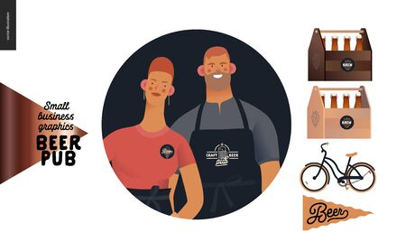 Brewery, craft beer pub -small business graphics -about us icon and pub elements -modern flat vector concept illustrations -man, woman bar owners bartenders, bicycle, beer flag, bottles, wooden boxes