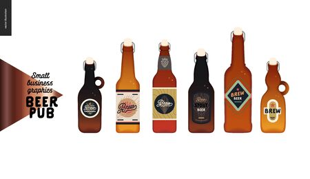 Brewery, craft beer pub -small business graphics - beer bottles -modern flat vector concept illustrations - various kinds of craft beer in the bottles, range, light and dark Illustration