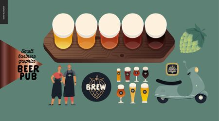 Brewery, craft beer pub -small business graphics -bar elements -modern flat vector concept illustrations - kinds of beer set, hop, bar owners, scooter, beer mat, branded glasses, brew logo