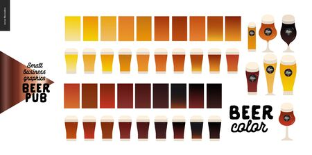 Brewery, craft beer pub -small business graphics - beer color -modern flat vector concept illustrations -various kinds of craft beer in the glasses, range from light to dark