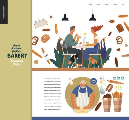 Bakery -small business illustrations -landing page design template -modern flat vector concept illustration of bread shop web page design -cafe visitors at the table, baker, bread