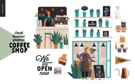 Coffee shop - small business illustrations - set - modern flat vector concept illustration of a coffee shop owner wearing apron, shop facade, barista woman, bar counter, coffee maker, plants, elements Иллюстрация