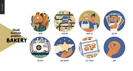 Bakery -small business illustrations -web icons -modern flat vector concept illustration of website template elements - icons menu, location, about us, gallery, delivery, concept, gift cards, blog Иллюстрация