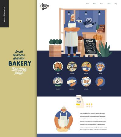 Bakery -small business illustrations -landing page design template -modern flat vector concept illustration of bread shop web page design -bakery owner, facade, baker, icons