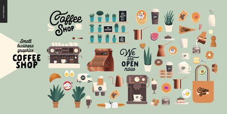 Coffee shop -small business illustrations -constructor set - modern flat vector concept illustration of various coffee cups and mugs, interior decoration, logo, pastry, coffee maker- constructor set