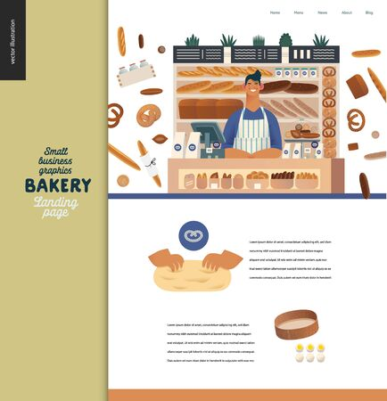 Bakery -small business illustrations -landing page design template -modern flat vector concept illustration of bread shop web page design -vendor at the counter, bread, kneading the dough, sieve, eggs Иллюстрация