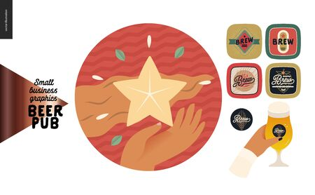 Brewery, craft beer pub -small business graphics -our concept icon and pub elements -modern flat vector concept illustrations -star badge, beer mats, brewery label, glass of beer
