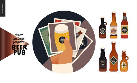 Brewery, craft beer pub -small business graphics -gallery icon and bottles -modern flat vector concept illustrations -photo gallery icon - a stack of images, and craft beer bottles