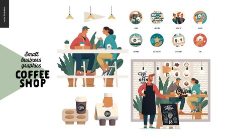 Coffee shop -small business illustrations -set -modern flat vector concept illustration of a coffee shop owner in front of cafe, visitors at the table, website icons, coffee take away packs