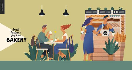 Bakery -small business illustrations -bakery vendor and buyers -modern flat vector concept illustration -shop assistant at the counter with display case and a woman buying bread. Visitors at the table Иллюстрация