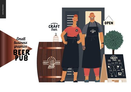 Brewery, craft beer pub -small business graphics -bar owners -modern flat vector concept illustrations -man, woman bar owners bartenders wearing aprons, standing in entrance, barrel, pavement stand Иллюстрация