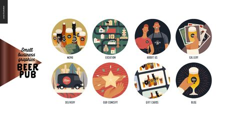 Brewery, craft beer pub - web icons -modern flat vector concept illustration of website template elements - icons menu, location, about us, gallery, delivery, concept, gift cards, blog Иллюстрация