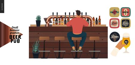 Brewery, craft beer pub -small business graphics -male visitor at the bar counter-modern flat vector concept illustrations -young man, sitting on the bar stool at the counter, back view. Beer elements