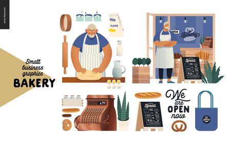 Bäckerei - kleine Geschäftsillustrationen - Bäckereisatz - moderne flache Vektorkonzeptillustration eines Bäckers, der den Teig knetet. Bäcker mit Schürze vor Ladenfassade, Bäckereielemente