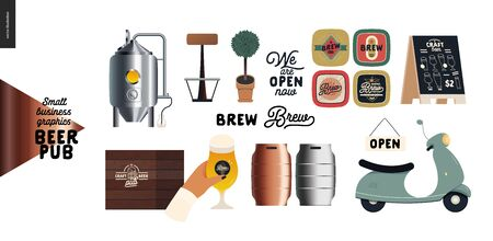Brewery, craft beer pub -small business graphics - pub elements -modern flat vector concept illustrations -draught beer tank, casks logo, hop, wheat, scooter, pavement stand, wooden bar counter, plant