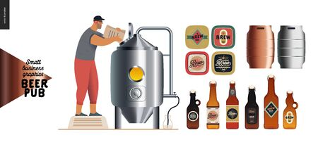 Brewery, craft beer pub -small business graphics - brewing process and some beer elements -modern flat vector concept illustrations -draught beer tank and brewer, beer bottles, mats and casks