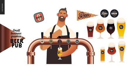 Brewery, craft beer pub -small business graphics -male visitor at the bar countera bartender-modern flat vector concept illustrations -young man pouring beer from the beer tower. Pub elements