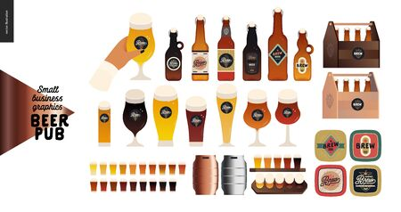 Brewery, craft beer pub -small business graphics - beer -modern flat vector concept illustrations -draught beer cask, beer mats, wooden package, glasses, bottles Illustration