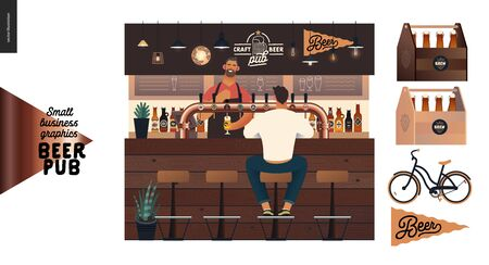Brewery, craft beer pub -small business graphics -at the bar counter-modern flat vector concept illustrations -young man, sitting on the bar stool at the counter, bartender pouring beer. Bar elements Stock Illustratie