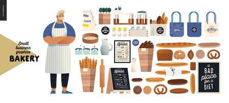 Bakery -small business illustrations - modern flat vector concept illustration of baker wearing apron, bread, logo, cash register, bakery utencils, interior and branded elements - constructor set 版權商用圖片 - 134033035