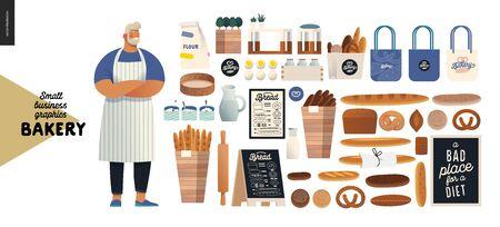 Boulangerie - illustrations de petites entreprises - illustration vectorielle à plat moderne de boulanger portant tablier, pain, logo, caisse enregistreuse, ustensiles de boulangerie, éléments intérieurs et de marque - ensemble de constructeurs
