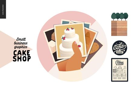 Cake shop, cakes on demand - small business graphics - menu icon -modern flat vector concept illustrations - a round badge with a stack of photos of cakes, tarts, cupcakes. Cake shop details Illustration
